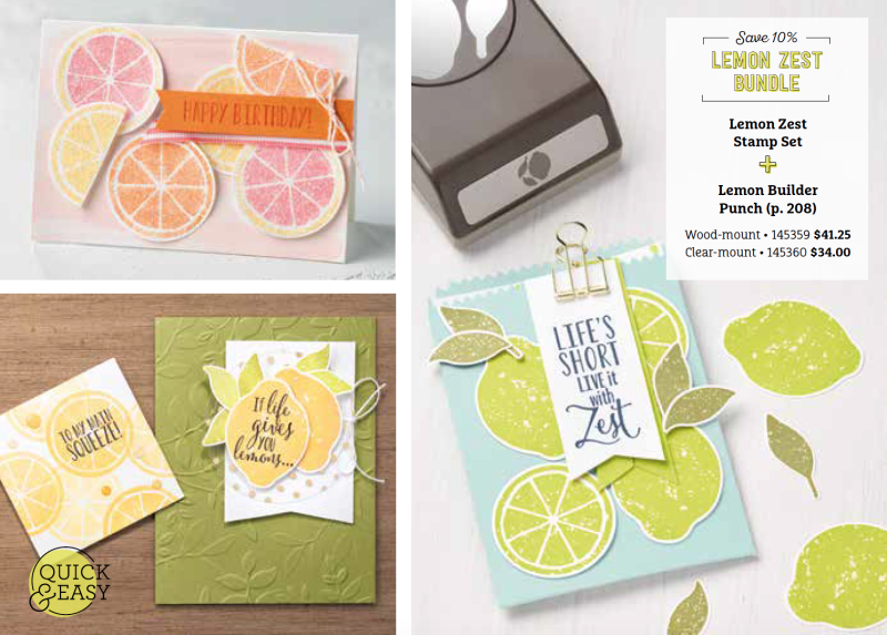 Lemon Zest Stamp Set and Lemon Builder Punch