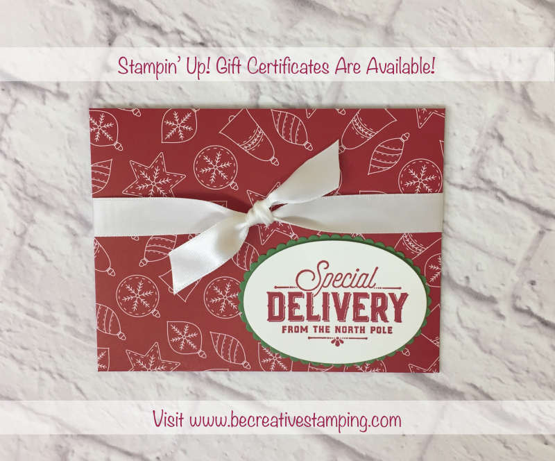Stampin' Up! Gift Cerficates (Be Creative Stamping)