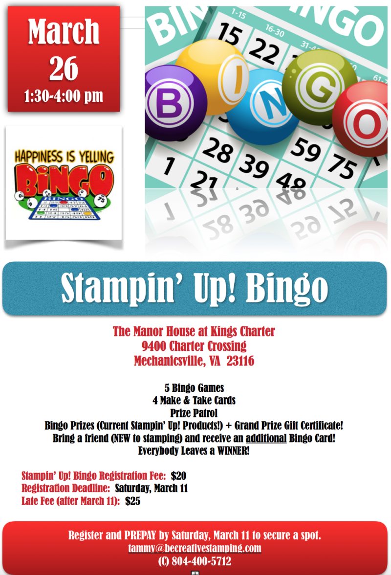 Stampin' Up! Bingo Blog Flyer