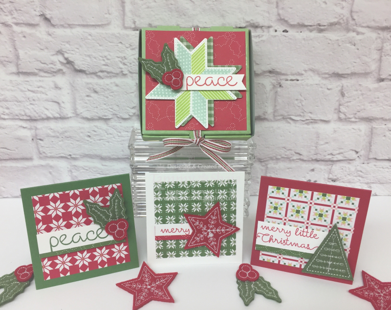 Christmas Quilt Mini Pizza Box and notecards