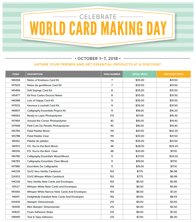 World Card Making Day Discounts List