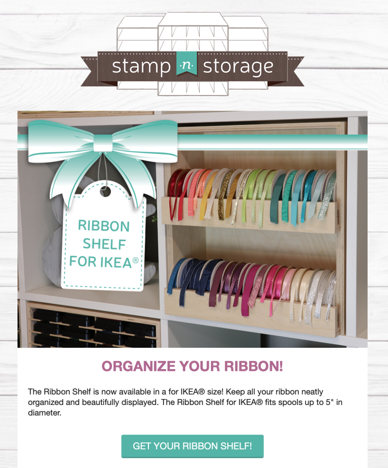 Stamp-n-storage ribbon shelf